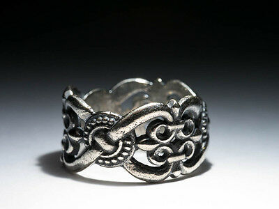 Knots and Lilies Ethnic Pattern Ring, silver-plated brass, Celtic, Pagan, Slavic