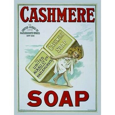 Cashmere Soap, Bathroom & Showeroom, Hotel, Vintage, Old, Small Metal/Tin Sign