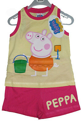 Girls PEPPA PIG  Lemon Short Set Ages 2,3,4,5,6 Years NEW