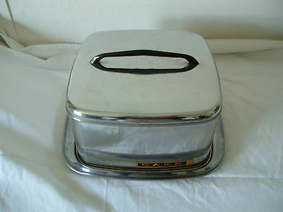 vintage lincoln beautyware silver cake saver with black handle locking lid