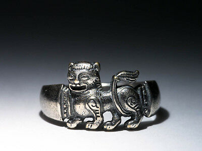 Lion Ring, Early Medieval Style, silver-plated brass, Celtic, Pagan, Viking
