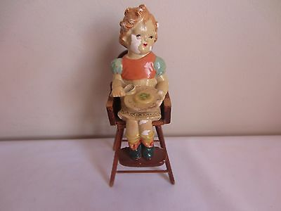 Vintage Antique 1940's? Paper Mache Doll in Wood High Chair Dollhouse Miniature