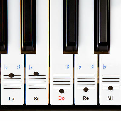 New Keysies Do Re Mi (Solfege) Clear Plastic Piano Key Stickers Keyboard Notes.