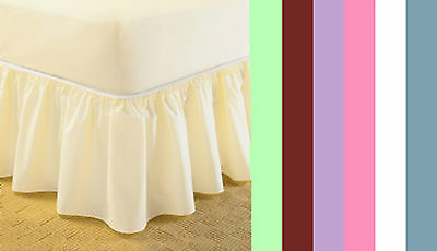 Universal Bed Valance - Elasticated - Easy Fit- One Size Fits All - 6 Colours
