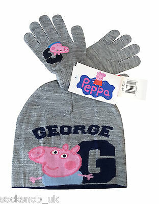 Peppa Pig - Boys Luxury George Knitted Beanie Hat & Gloves Set Grey 3-8 Years