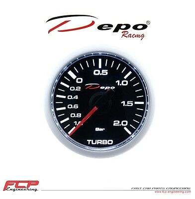 DEPO RACING GETÖNTE MECHANISCHE LADEDRUCK ANZEIGE / TURBO BOOST GAUGE 2 BAR 52mm