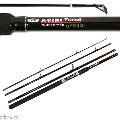 Carp Coarse Pike Sea Spinning 4Pc 9Ft Travel Fishing Rod - Fibreglass Ngt