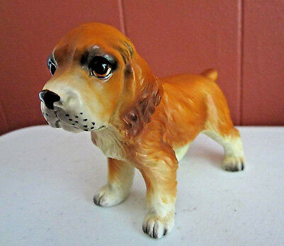 Vintage Napcoware Beagle puppy dog figurine stoneware label on #9051 NICE