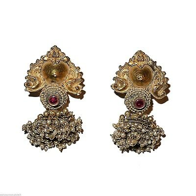 Tamil Nadu Earrings, 22k Gold-Rubis-Basra Pearls  (0729)