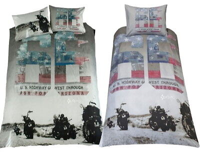 Route 66 Downtown Single / Double Duvet Cover Bed Set Motorbike