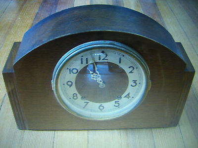 Mid-Century/Art Deco Plymouth Clock 8Day Pendulum Brass/Thomaston, CT USA c 1940