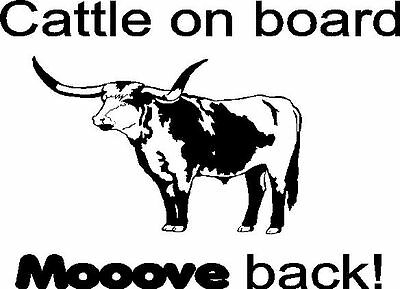 Cattle on Board MOOOVE Back Trailer Decal Stickers 20x22