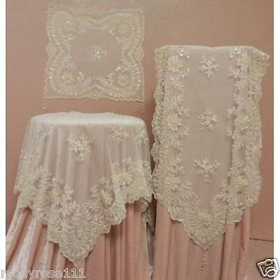 Elegant Cream Ivory Beaded Lace Sequin & Embroidered Table Runner - 7328