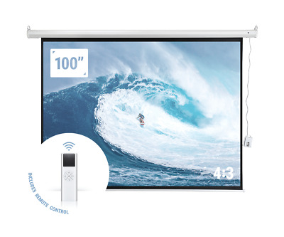 "Homegear 100"" 4:3 HD Electric Motorized Projector Screen + Remote"