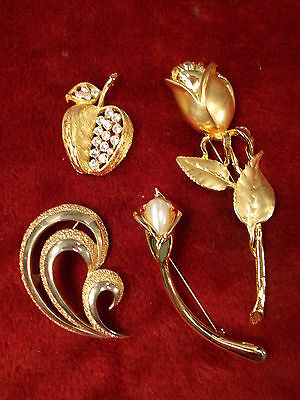 Lot #7 Estate Liquidation Brooches/pins Large Rose, Apple With Rhinestones++++++