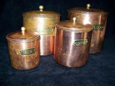 Antique Set of 4 Metal Canisters Copper Brass & Stainless Steel B&M RO Korea