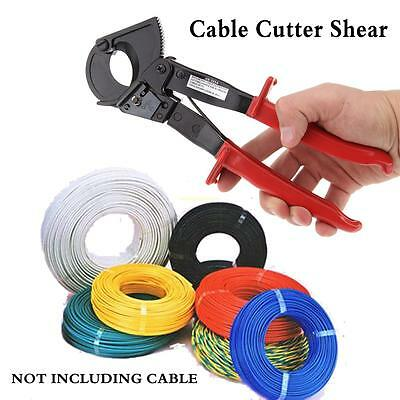 Red ratcheting cable cutter With Safety lock Anti-slip rubber hand Light weight.