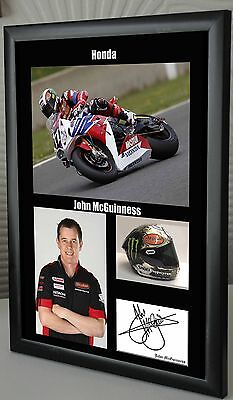 """Tribute to John McGuinness TT Motor Cycle Framed Canvas Signed  """"Great Gift"""""""