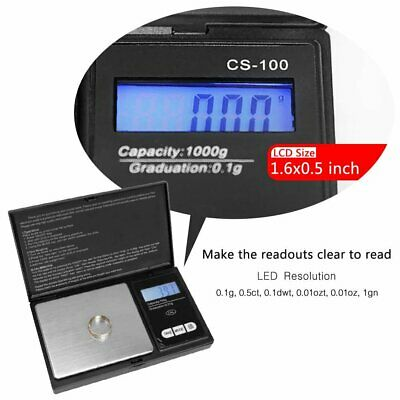 Small Mini Digital Pocket Scale 1000g x 0.1g Weight Jewelry Gold Silver Coin OZ
