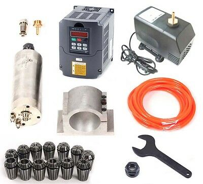 CNC 2.2KW Spindle Motor + Frequency inverter VFD + Mount + ER20 Collet + pump