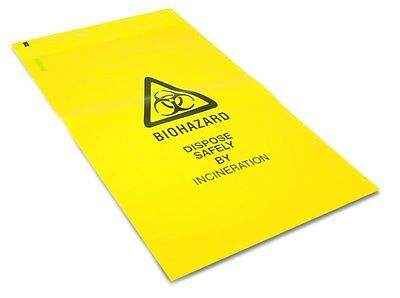 Biohazard Disposal, Clinical Waste Bags - Self Seal 20 x 35cm, Thick Yellow Safe