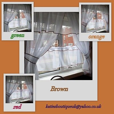 Beautiful Ready Made Voile Kitchen Net Curtain Set