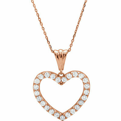 """Diamond Heart 18"""" Necklace In 14K Rose Gold (1/4 ct. tw.)"""