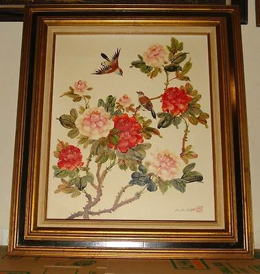 Large Vintage Listed C K. Chan Original oil/canvas Painting Flowers and Sparrows
