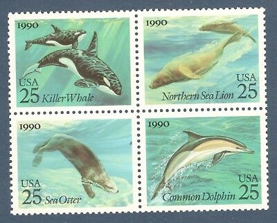 2508-11 Sea Creatures Block of 4 Mint/nh (Free Shipping)