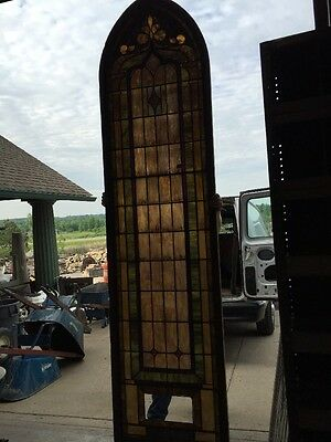 "Ca 5Antique Stained Glass Window 129"" X 32 And Three-Quarter Inches"