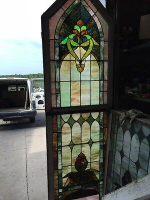 "Ca 13 Antique Stain Glass Landing Window 28"" X 99"" High"