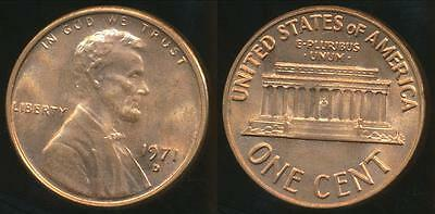 United States, 1971-D One Cent, Lincoln Memorial - Uncirculated