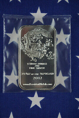 2012 Year Of The Dragon Mint 1 Troy Oz .999 Fine Solid Silver Bar Sealed Lot 1A