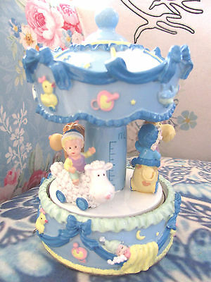 Child Baby Boy New Baby  Musical Carousel Snowglobe Water Ball Christening Birth