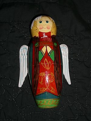 Vintage Angel Russia Hand Carved Hand Painted Nesting DOLL wood Set Angel WINGS