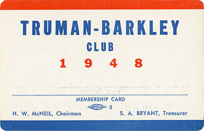 1948 Campaign Truman Barkley Club Membership Card (2404)
