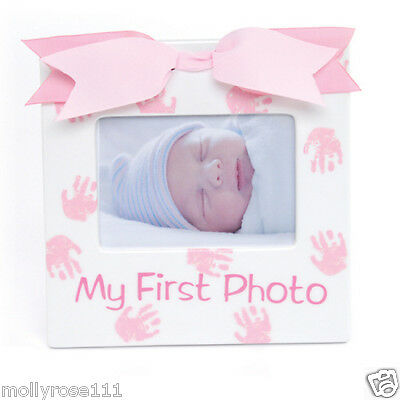 Ceramic Mud Pie Baby Girl Newborn Princess Pink Bow  My 1st Photo Picture Frame