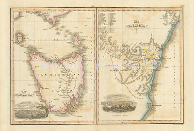 Van Diemen's Land New South Wales Antique Map Wyld 1827 Original