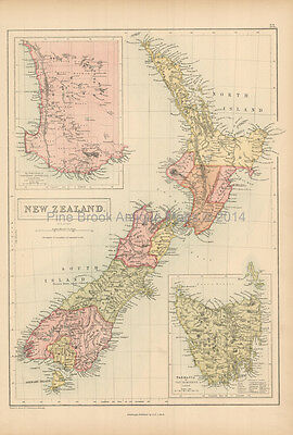 New Zealand Antique Map Black 1867 Original