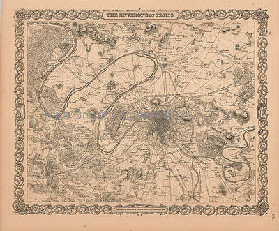 Paris Antique Map Colton 1859 Original