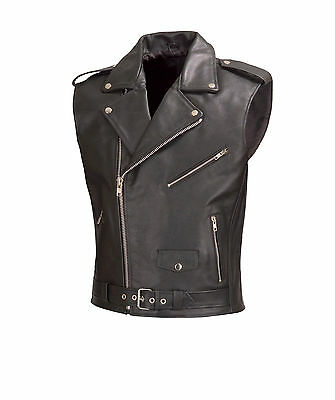 Men Motorcycle Biker Leather Vest Classic Style Black by WICKED STOCK V111-OS