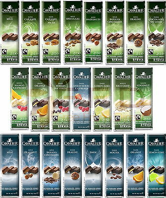 Cavalier Belgian Chocolate Bar with Stevia No Sugar Added Sugar Free 40g