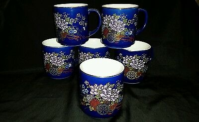 6 Cobalt Blue Coffee Or Tea Mugs NM 24K Gold Trim! Lovely!!