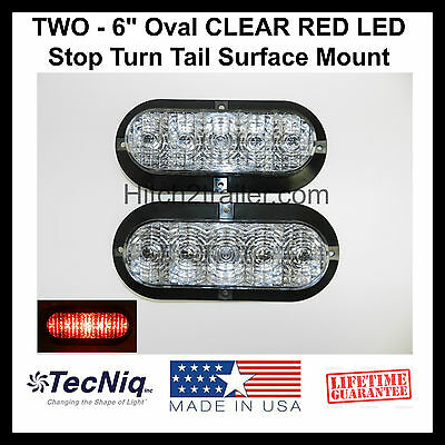 """2 - 6"""" Oval CLEAR RED LED Stop Turn Tail Light Surface Mount Trailer Truck USA"""