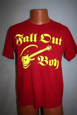 FALL OUT BOY Red & Yellow Guitar Band T-SHIRT Youth XL ROCK Pop Emo