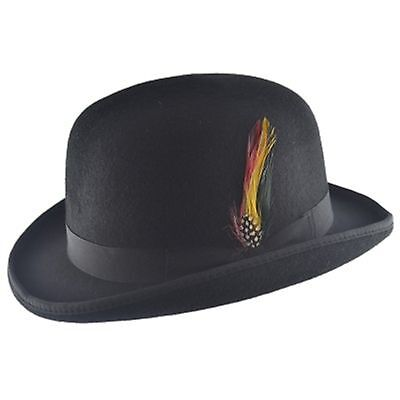 100% Wool High Quality Bowler Hat with Removable Feather Satin Lined