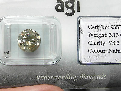 477E LOOSE 3.13ct  DIAMOND NATURAL FANCY GOLDEN BROWN CHAMPAGNE AGI CERT 935503