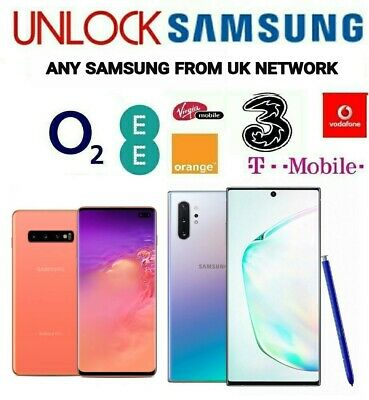 Unlock Code Samsung Galaxy Note 8 S8 Plus S7 Edge S6 Edge S5 Mini O2 Ee Vodafone