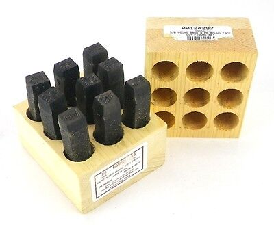 """YOUNG BROS 08096 698690 3/8"""" 0 - 9 Round Face Dot Numbers Steel Stamp Set USA 1B"""