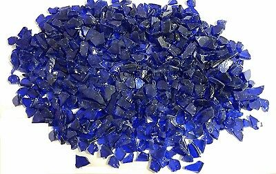"60lbs Cobalt Blue Fireglass for Fire Pits / Fire Place 1/4""  Crushed Glass"